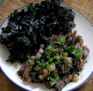 Liver served with purple kale